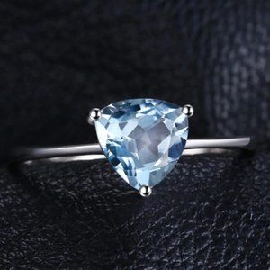 Trillion Swiss blue Topaz Solitaire Silver Ring